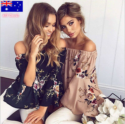 AU Womens Floral Off Shoulder Loose Beach Ladies Casual Shirt Tops Blouse Top