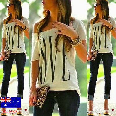 AU STOCK Women Off Shoulder Short Sleeve Tee Shirt Ladies Casual New Blouse Tops