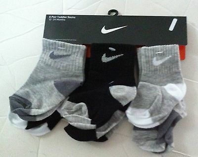 Nike Toddler Baby Boy Socks 6-Pack Black and Grey 12-24 Month