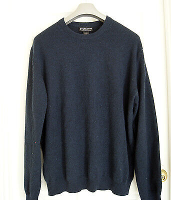 JOSEPH & LYMAN 100%  CASHMERE sweater men's L navy blue crew neck