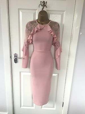 Pink Lace Frill Bodycon Evening Stretch Midi Party Occasion Summer Wiggle Dress