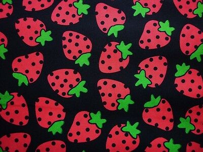 Clearance Fq Bright Strawberry Strawberries  Fabric Fruit Food Summer Kitsch