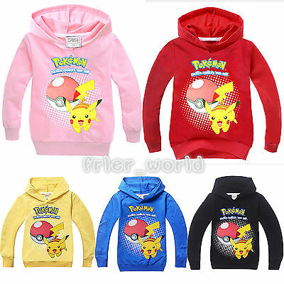 Boys Girls Pokemon Pokeball Pikachu Clothes Kids Hoodies Sweatshirt Hooded Tops