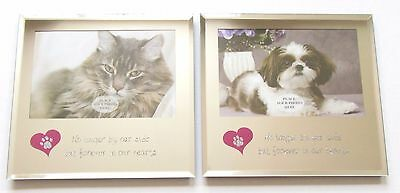 "DOG CAT Pet Memorial Mirror Photo Frame ""No longer by our side...""  Verse"