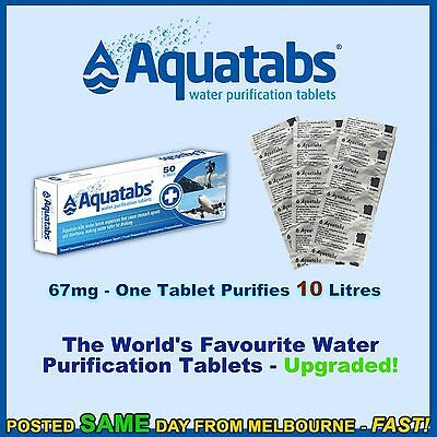 Water Purification Tablets Aquatabs 67mg 67 mg treat 10 ltrs camping prepping