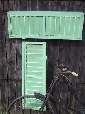 VINTAGE WOODEN FRENCH SHUTTERS 105.5 X 73  cm LOUVER SHABBY WINDOW  FREE POST