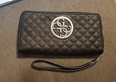 Authentic GUESS Zip-around Wallet Clutch Purse Wristlet Black from Strand Bags