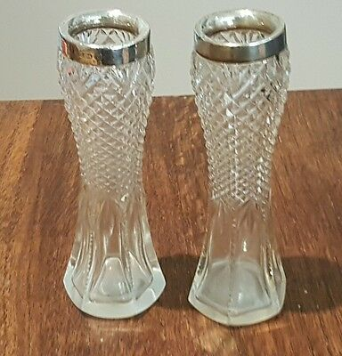 Pair of Solid silver and cut glass vase