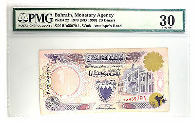 Bahrain Monetary Agency Pick#22 1973 (ND1998) 20 Dinars PMG VF30 Antelope's Head