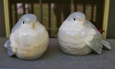 Pair Two Gray Blue Tan Porcelain Bird Figurines, unmarked