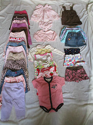 Nice Big Lot Baby Girl Clothes 33 Pieces 6 - 12 Months Carters Jumping Beans