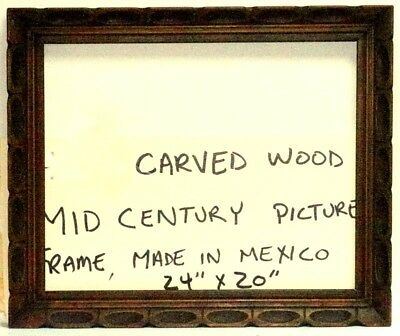 """VINTAGE MID CENTURY RUSTIC WOOD CARVED MEXICO 24"""" x 20"""" FRAME PAINTING MIRROR"""