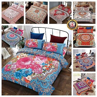 New Bohemian Floral Bedding Sets Double & King Size Duvet Covers With Pillowcase
