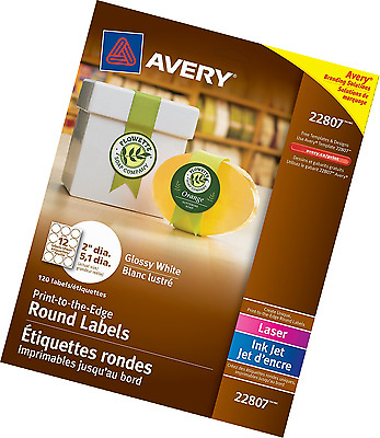 Avery Easy Peel Permanent Print-To-The-Edge Round Labels, Laser/InkJet, 2-Inch,