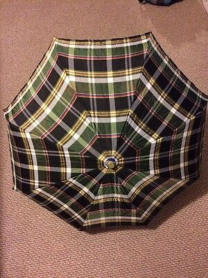 Lovely Vintage Plaid Folding UMBRELLA Decorative Lucite Handle Tips Compact Fold
