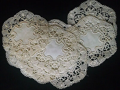 """Handmade Cluny Bobbin Lace Doilies Matched Set Off-white 6"""" Wide Linen Center"""