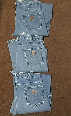 Lot Of 3 Pairs Carhartt Mens Jeans 34 X 32 Traditional Fit