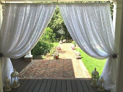 "Embroidered wedding white drape panels 112"" wide  Baby room. free swatches"