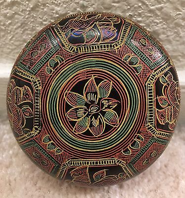 Vintage Antique Burmese Hand Painted Lacquerware Small Circular Box Lion Design