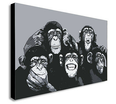 1972e29b3e3 MONKEY CHIMP FAMILY SELFIE PHOTO Canvas Wall Art Framed Print - Various  sizes