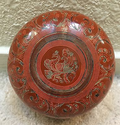 Vintage Antique Burmese Hand Painted Lacquerware Circular Box