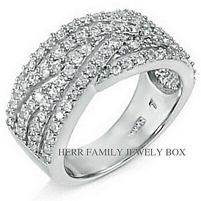 Solid .925 Sterling Silver CZ wide Anniversary Band Womens Fashion Cocktail Ring