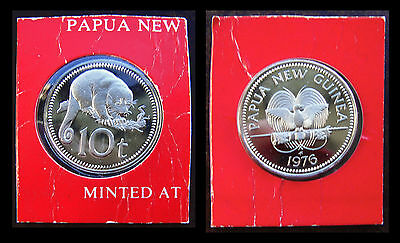Papua New Guinea 10 Toea1976 Silver Proof Coin Bird Tree Animal