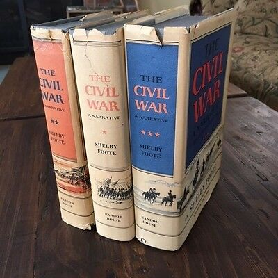 THE CIVIL WAR A NARRATIVE Shelby Foote 3 Volumes 1st Editions