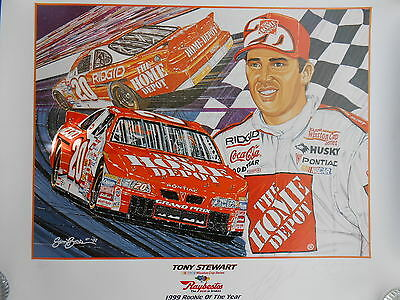 Autographed Tony Stewart Sam Bass Collectible Rookie Of The Year Print 1999
