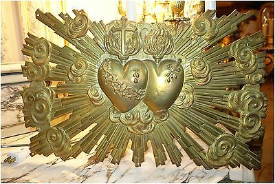 GORGEOUS FRENCH ANTIQUE BRONZE DOUBLE SACRED HEARTS w CROSS  CLOUDS WALL HANGING
