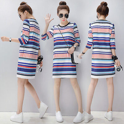 New Summer Maternity Clothes Striped Casual Breastfeeding Dress Nursing Dresses