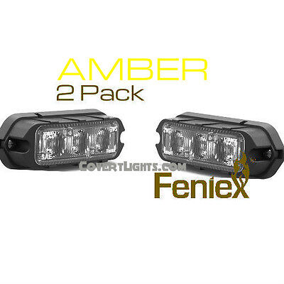 2 pack AMBER FENIEX COBRA T3 LED SURFACE MOUNT GRILL LIGHT AMBER