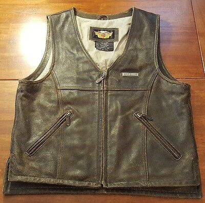 Harley Davidson Motorcycle Distressed Zip Pockets Brown Leather Vest MENS Small