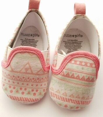 CUTE baby girl infant shoes melon Pink Green white Size 2 3-6 months Cutie Pie