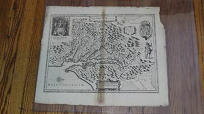 1636 Mercator-Hondius Atlas - Nova Virginia Tabula Map in ENGLISH Printing