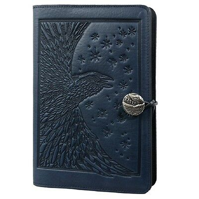"""Raven handcrafted Leather Journal navy-blue Large 6""""x9"""" Oberon Design crow"""