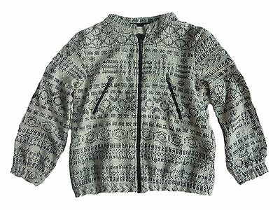 ZARA Girls Bomber Jacket Black Geometric Navajo Jacquard Print Girl £19.99