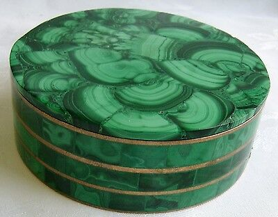 Antiique or Vintage Brass Bound  Malacite Box and Lid.