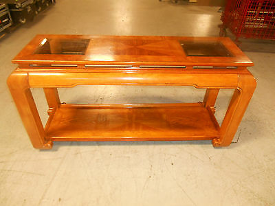 Mid-Century Modern Floating Top w Beveled Glass Inserts Asian Console Sofa Table