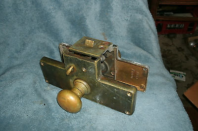 ANTIQUE Entry Outside Entrance Door Mortise Lock Set w Key COMPLETE Russwin