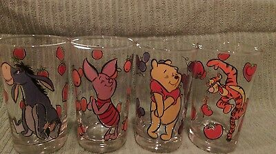 Vintage Winnie The Pooh 4 Glass Set Anchor Hocking Disney New In Plastic Tote