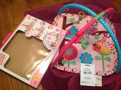 Bright Starts Happy Tweets Activity Gym play mat baby rattle girls pink