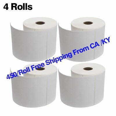 4 Rolls 450/Roll 4x6 Direct Thermal Shipping Labels for Zebra 2844 ZP-450 ZP-500