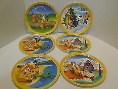 1977 Set of 6 Melamine Ronald McDonald & Friends Plastic 4 seasons plates