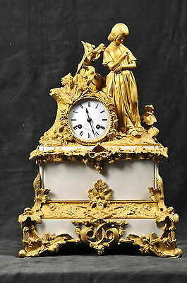 Antique 19th century French Figural Gilt Bronze and Marble Clock