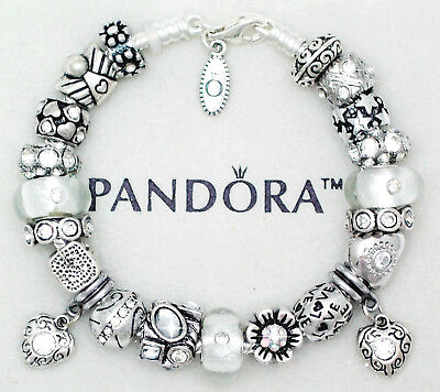 Authentic Pandora Charm Bracelet with Silver Heart Love Gift European Charms
