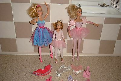 Barbie Ballet Dolls Bundle With Tiaras & Extra Ballet Clothes And Shoes