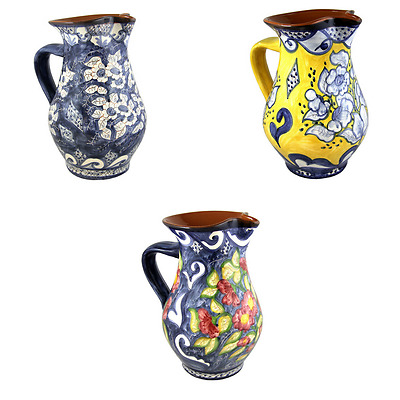 Big Hand Painted Vintage Traditional Portuguese Terracotta Clay Wine Pitcher