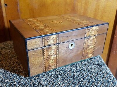victorian antique walnut tunbridge work box trinket jewellery