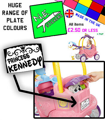 PERSONALISED Number Plate for Little Tikes Princess Horse and Carriage car ride